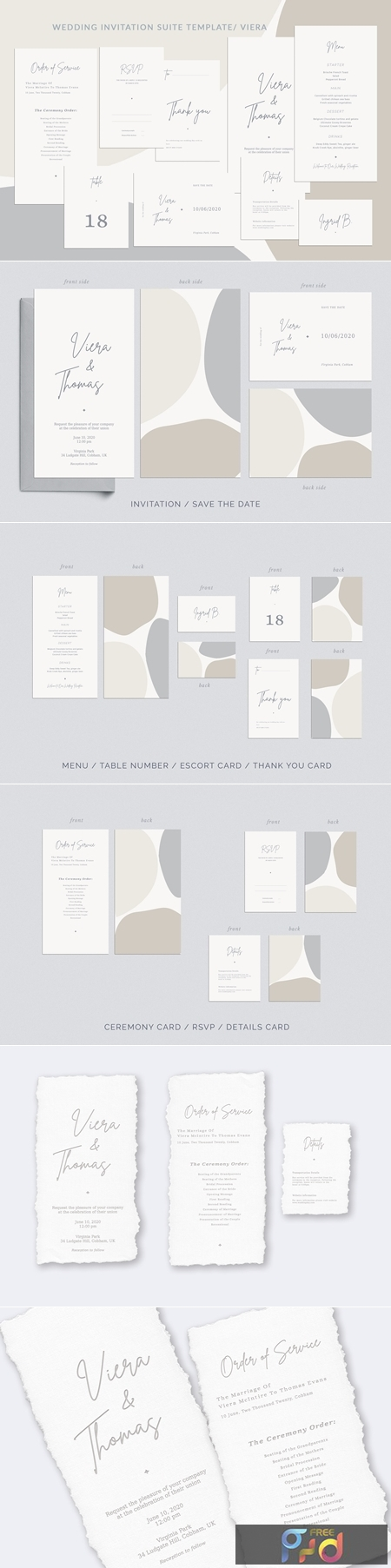 Wedding Invitation Suite Viera, Templates 1