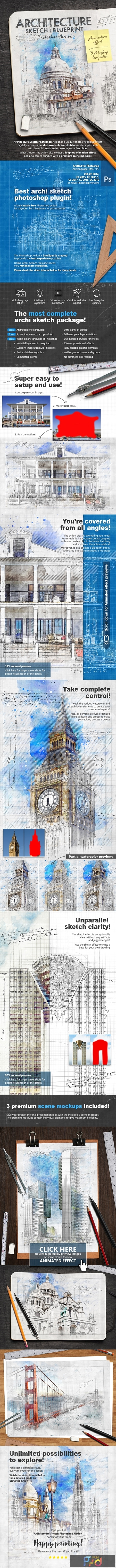 Animated Architecture Sketch and Blueprint Photoshop Action 23954628 1