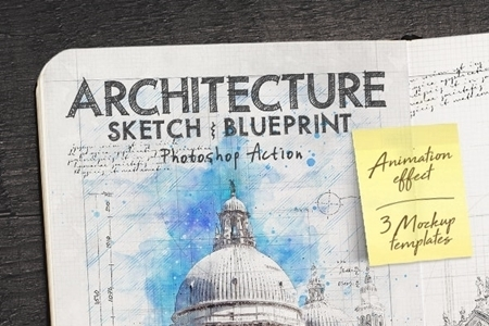 architecture sketch and blueprint photoshop action free download