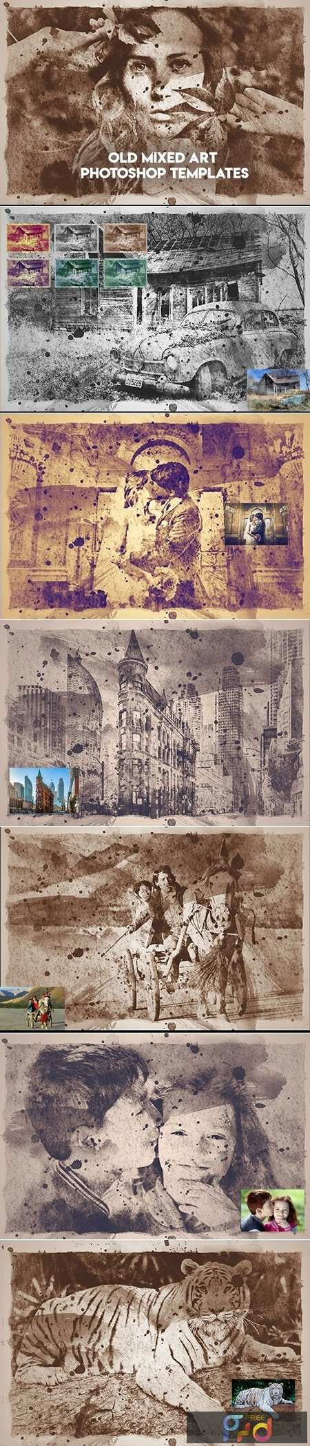 Old Mixed Art Photoshop Templates 1