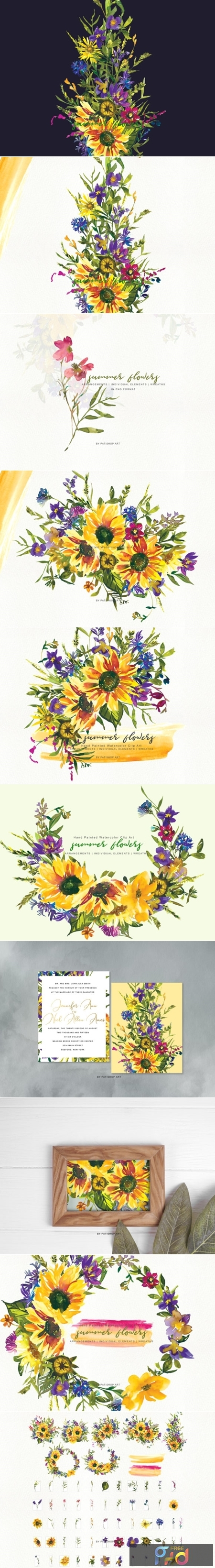 Watercolor Sunflower Wildflower Clipart 1505794 1
