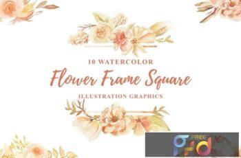 10 Watercolor Flower Frame Square Illustration 6