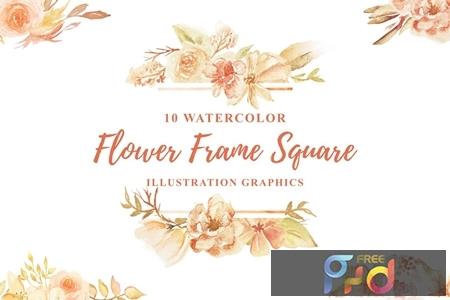 10 Watercolor Flower Frame Square Illustration 1