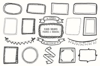 20+ Handdrawn Frames & Ribbons Clipart 1