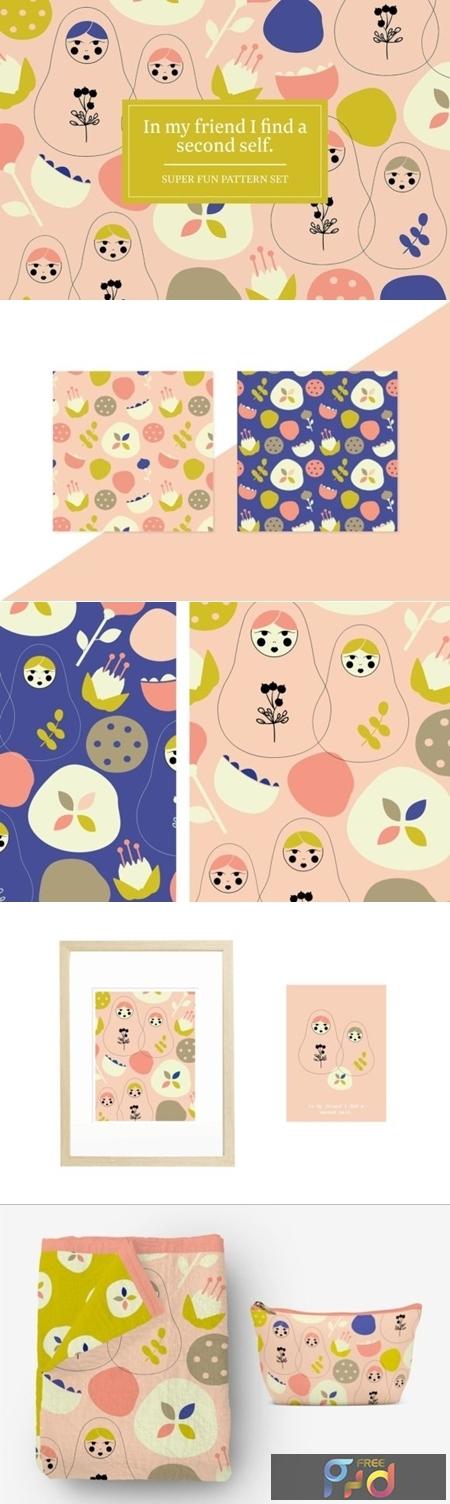 Matryoshka Dolls Pattern Set 1505877 1