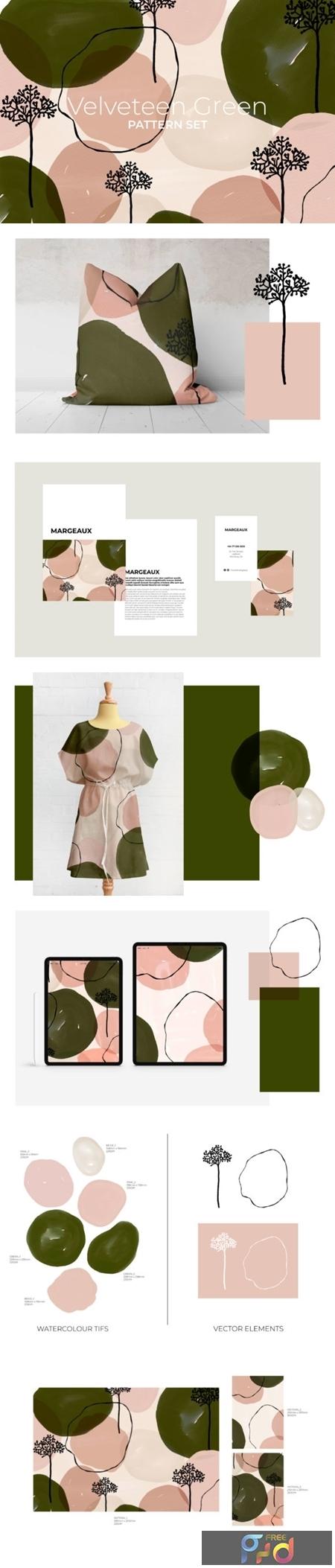 Velveteen Green Pattern Set 1505857 1