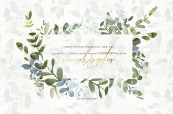 Watercolor Eucalyptus Clipart Collection 1505798 6