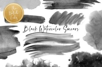 Black Watercolor Smear Clipart Set 1539503