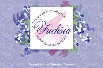 Fuchsia Blue Watercolor 1539339 6