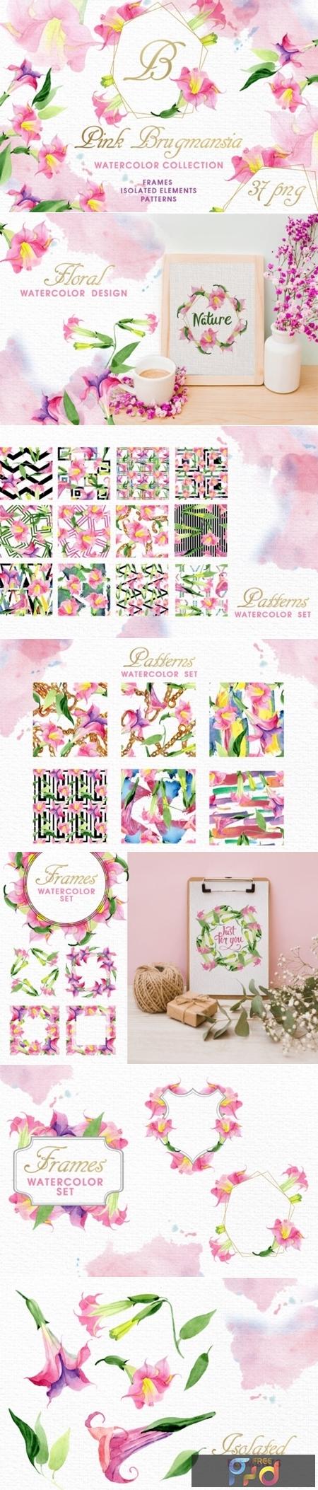 Pink Brugmansia Watercolor Png 1539360 1
