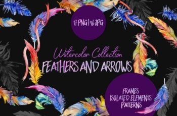 Feathers and Arrows Watercolor Png 1558399 3