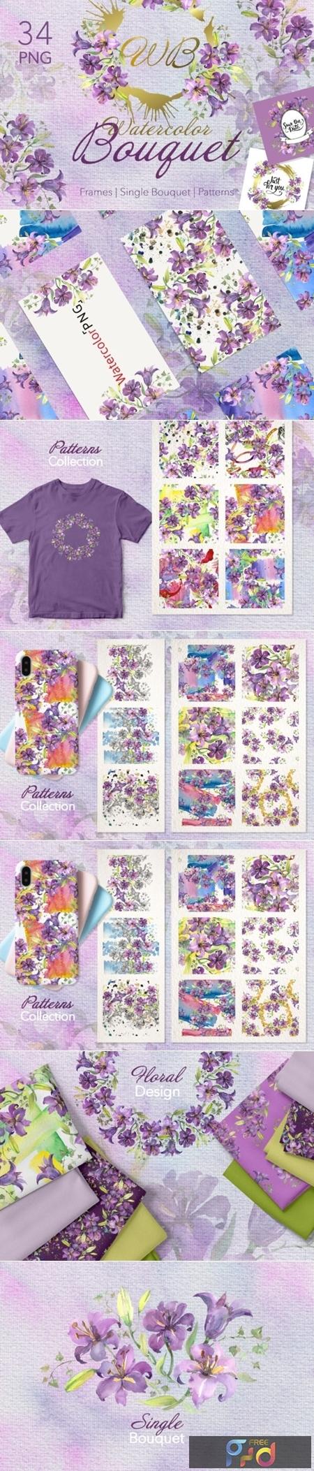 Purple Watercolor Bouquet of Lilies 1558405 1