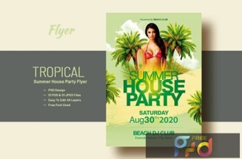 Summer House Party Flyer Template V-14 1