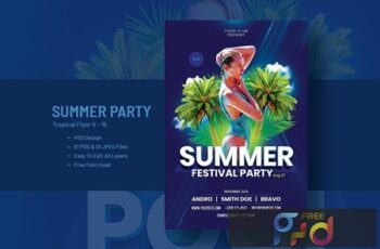 Summer House Party Flyer Template V-15 6