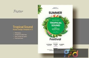 Summer & Tropical Sound Party Poster Template V-2 6