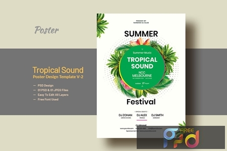 Summer & Tropical Sound Party Poster Template V-2 1