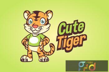Cartoon Cute Little Tiger Mascot Logo 5
