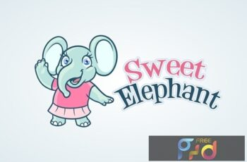 Sweet Little Elephant Girl Mascot Logo 3
