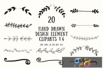 20 Hand Drawn Design Element Cliparts Ver. 4 8L4HR9G 8