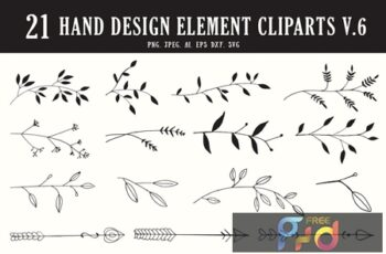 20+ Hand Design Element Cliparts Ver. 6 H2FP4C8 3