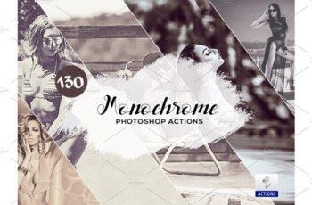 130 Monochrome Photoshop Actions 3934820 3
