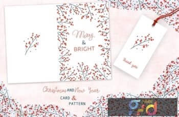 Christmas Branches Greeting Card and Pattern EQ8PBZA 6