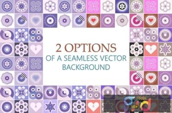2 Options of a Seamless Patterns Vector Background 4GJ6YZN 8