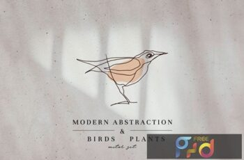 Modern Abstraction Birds & Plants FSJ6B7U 7