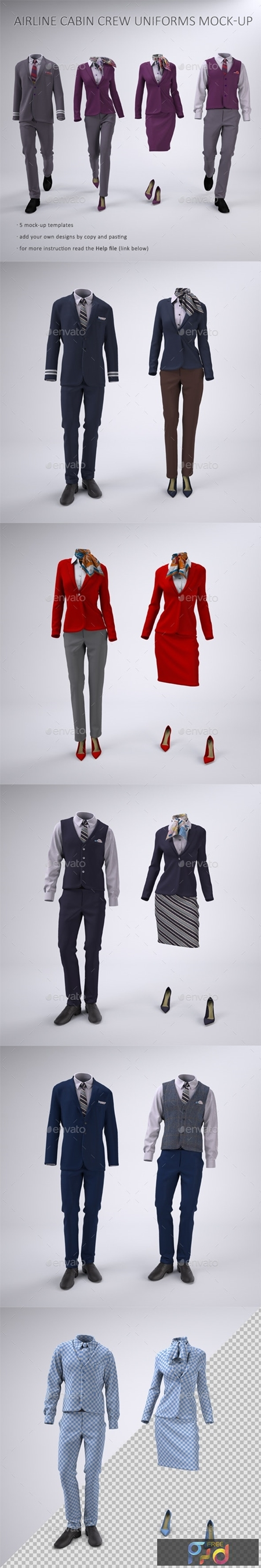 Airline Cabin Crew or Hotel Uniforms Mock-Up 23268316 1