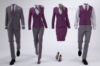 Airline Cabin Crew or Hotel Uniforms Mock-Up 23268316 4