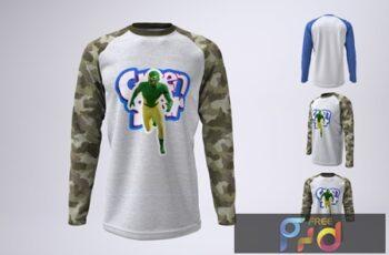 Long Sleeve Baseball T-Shirt Mock-Up T4N26ME 6