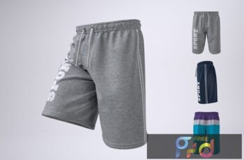 Man's Athletic Shorts Shorts Mock-Up 9CQVAWG 5