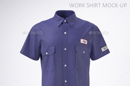 Work Shirt With Short Sleeves Mock Up 21786901 Freepsdvn