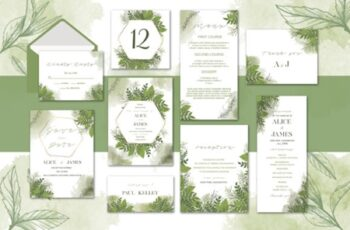 Green Floral Wedding Invitation Set 1663621 4