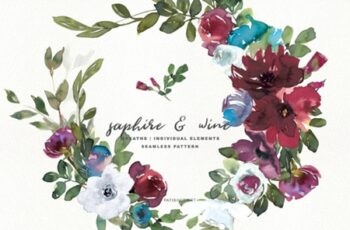 Sapphire & Wine Watercolor Clipart Set 1663241 13