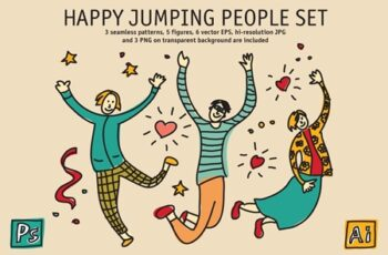 Happy Jumping People Set 3379958 3