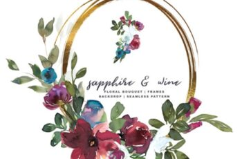Sapphire Wine Watercolor Floral Set 1663415