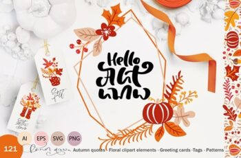Autumn Vector Calligraphy & Elements 3977864 8