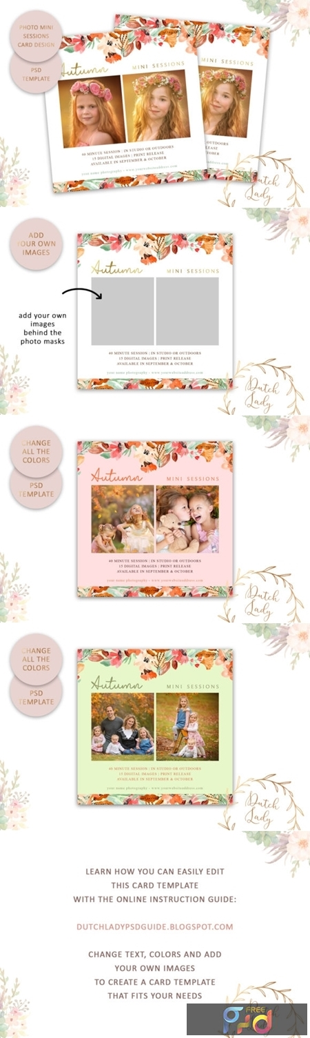PSD Photo Session Card Template #46 1673886 1