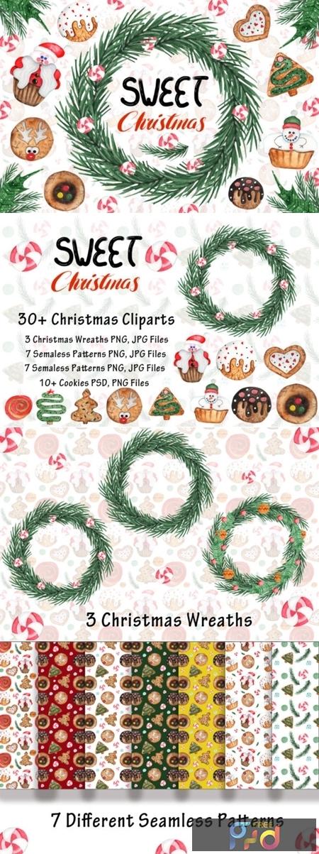 Watercolor Sweet Christmas Cookies 1667164 1