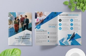 Blue Abstract Bifold Brochure Layout 266786771 9
