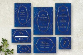 Blue and Gold Wedding Stationery Set 260784066 4
