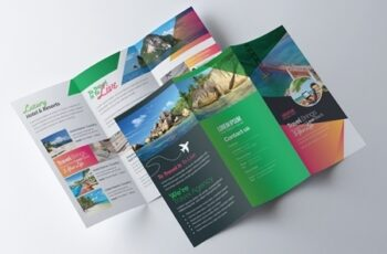 Green and Orange Trifold Brochure Layout 254705142 3