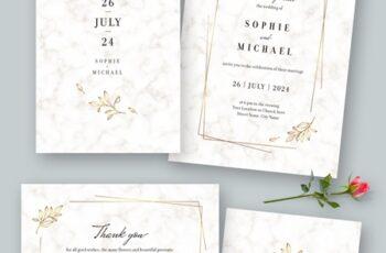 White Marble Wedding Stationery Set 260783886 2