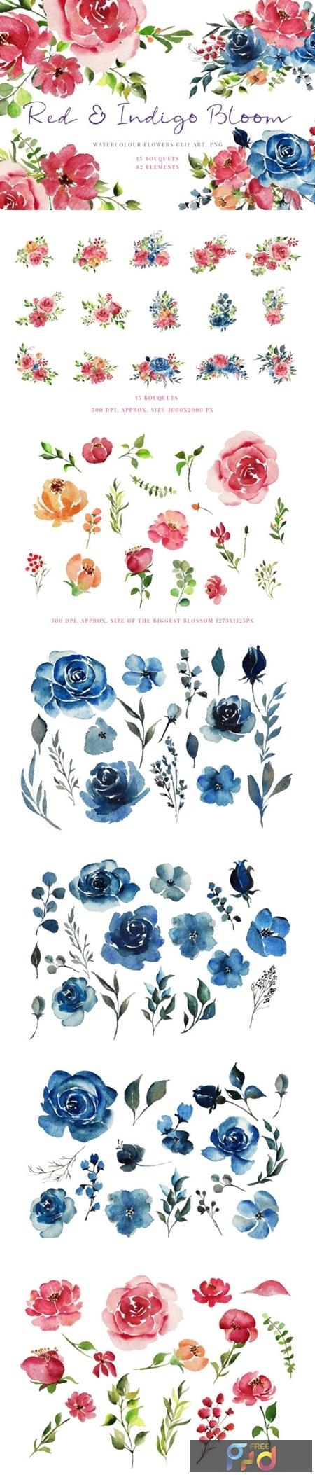 Handpainted Red & Indigo Flowers 1717731 1