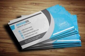 Blue World Map Business Card Layout 203955535 6