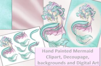 Mermaid Clipart and Printables Decoupage 1629604 5