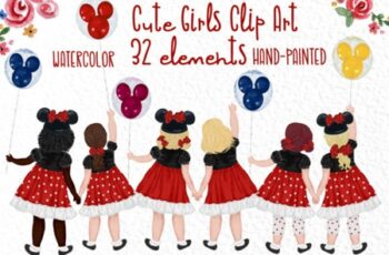 Cute Little Girls Besties Clipart 1714803 6