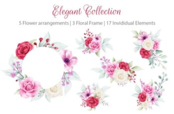 Elegant Watercolor Flowers Collection 1715197 6