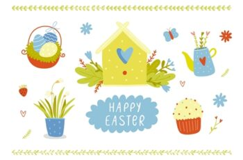 Happy Easter Vector Set with Bunny 3407728 4